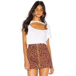 Free People Zip It Up Leopard Denim Mini Skirt